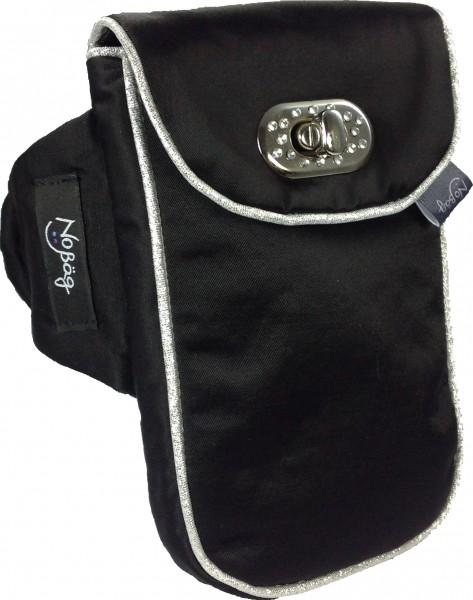 """No Bäg Armtasche """"Satin schwarz mit silberfarbenem Zierband und Strass-Verschluss ohne Reißverschlus"""