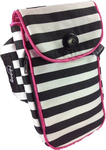 "No Bäg arm bag ""Black and white stripes with pink piping stripe"""