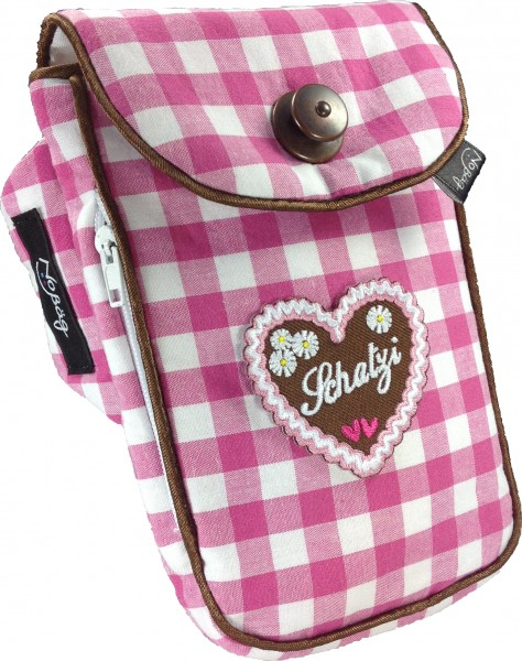 "No Bäg arm bag ""Pink and white checkered Schatzi"""
