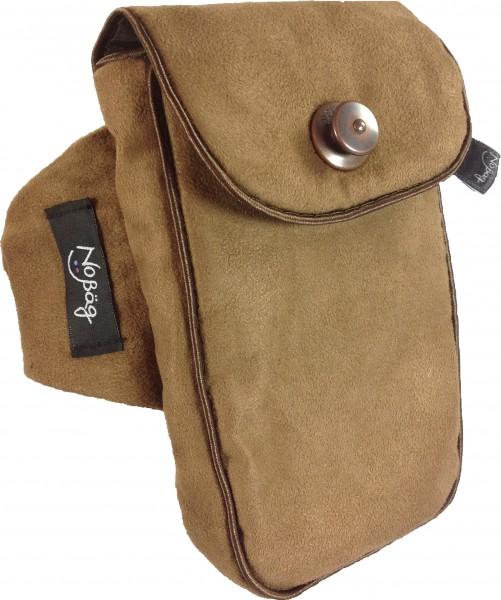 "No Bäg arm bag ""Fine fabric brown piping satin"""