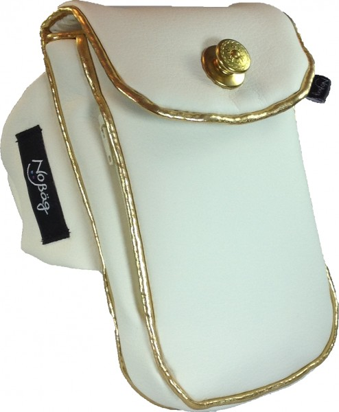 "No Bäg arm bag ""White PU Artificial leather with goldcoloured coloured piping striper"""
