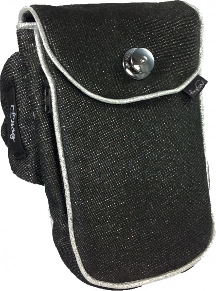 "No Bäg arm bag ""Black glittering fabric with silver piping stripe"""