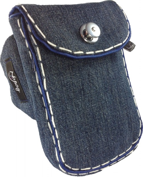 "No Bäg arm bag ""Jeans-blue with white decorative stitching"""