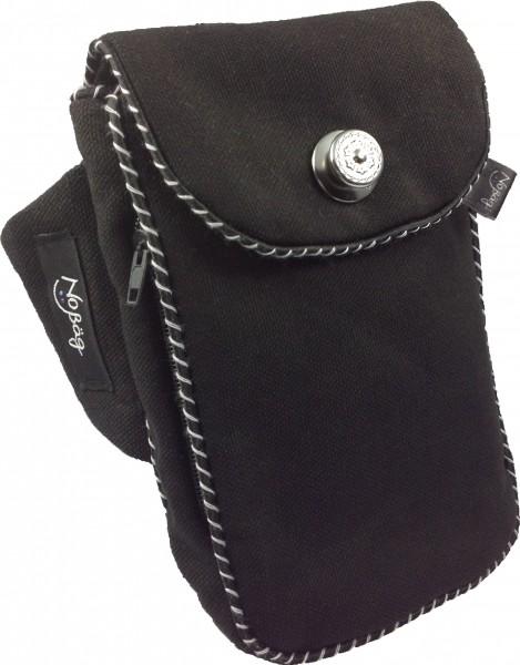 "No Bäg arm bag ""Canvas Black with Black&White piping stripe"""