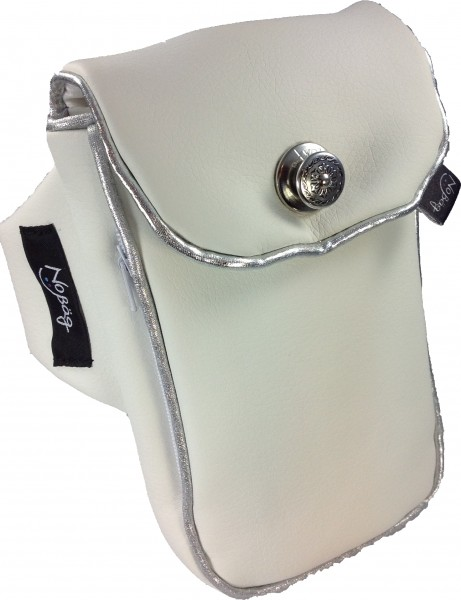 "No Bäg arm bag ""White PU Artificial leather with silvercoloured coloured piping striper"""