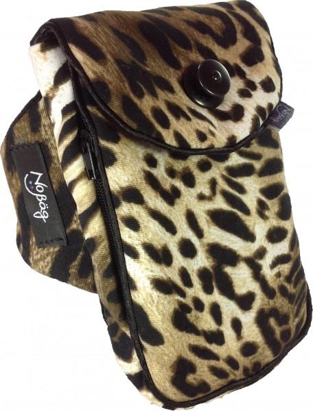 """No Bäg Armtasche """"Stoff Leoparden Muster mit schwarzem Zierband"""""""