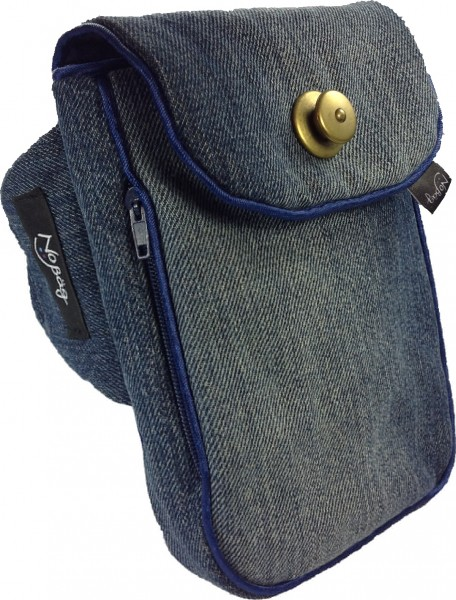 "No Bäg arm bag ""Jeans-blue with bronze-coloured quick lock"""