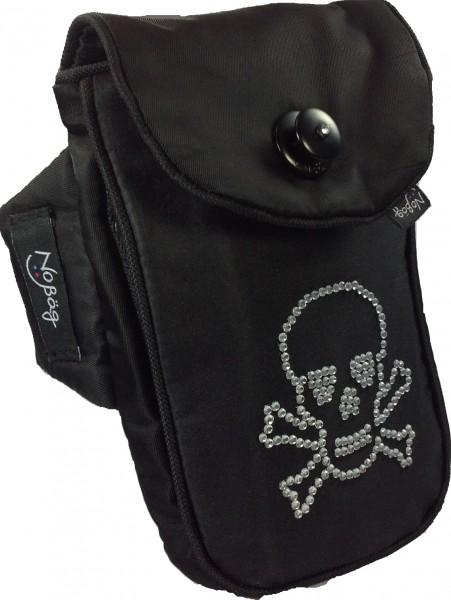 """No Bäg arm bag """"Black matt glossy with bling bling skull"""""""